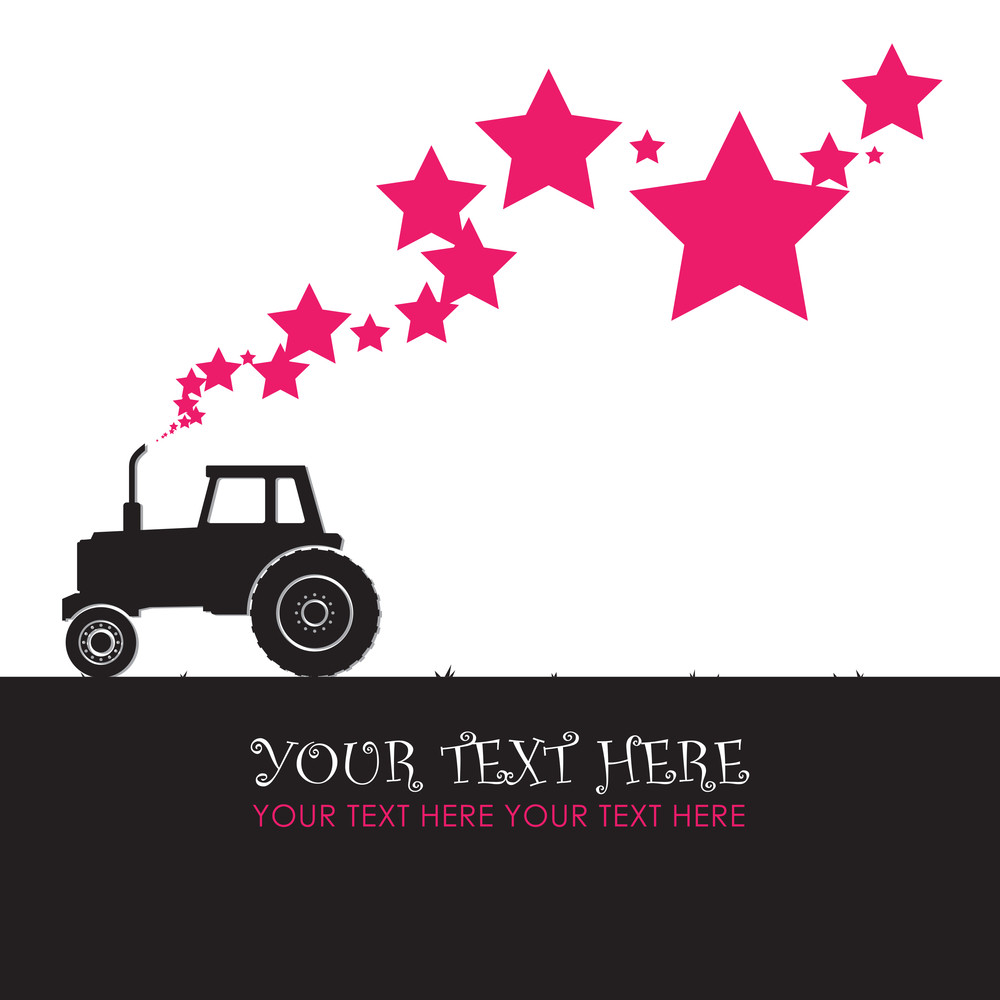 Abstract Vector Illustration With Tractor And Stars. Vector Illustration.