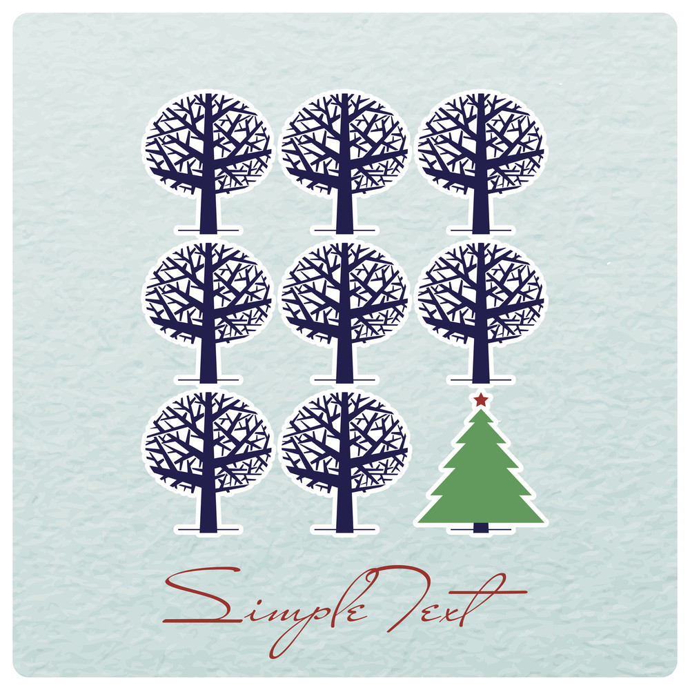 Abstract Vector Illustration With Trees.