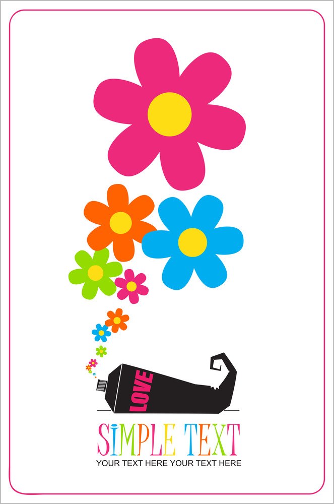 Abstract Vector Illustration With Tube And Flowers.