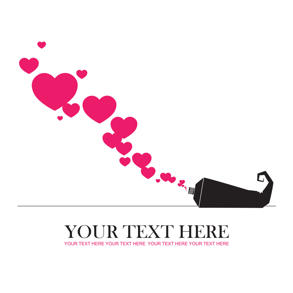 Abstract Vector Illustration With Tube And Hearts.