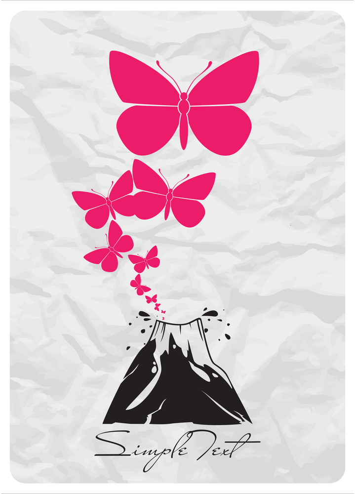 Abstract Vector Illustration With Volcano And Butterfles.