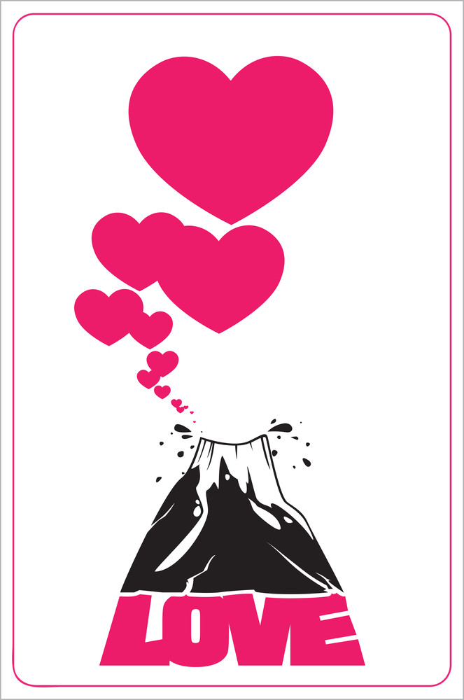 Abstract Vector Illustration With Volcano And Hearts.