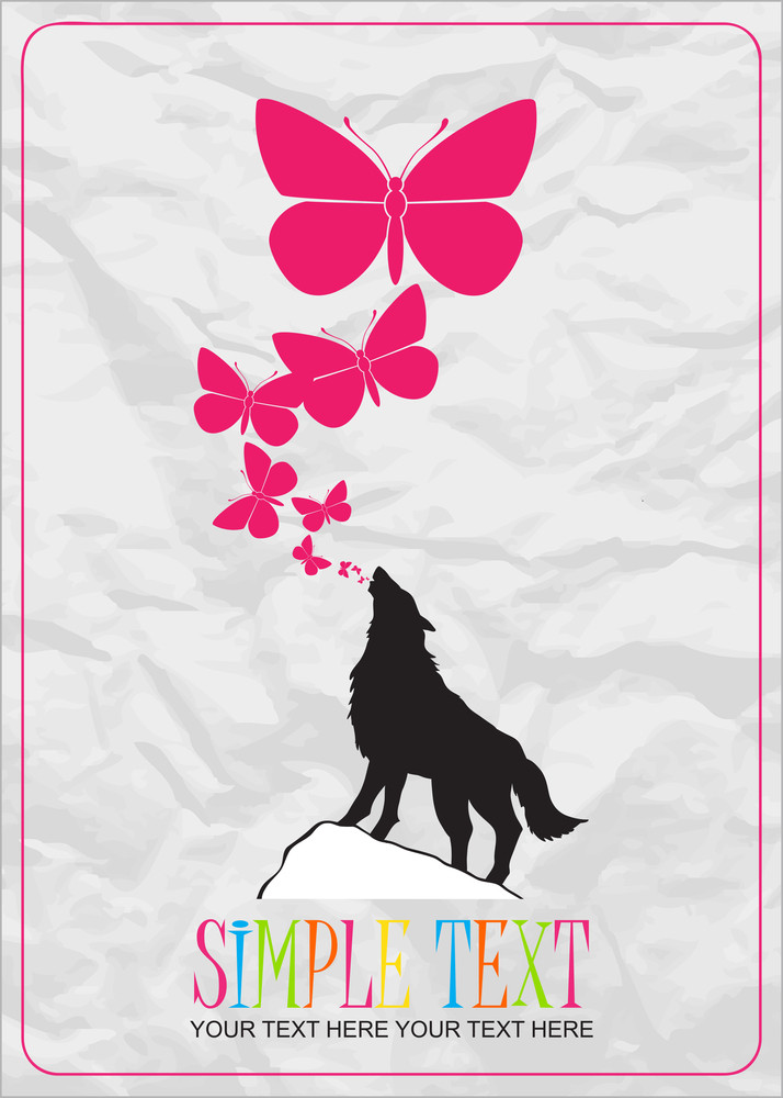 Abstract Vector Illustration With Wolf And Butterflies.