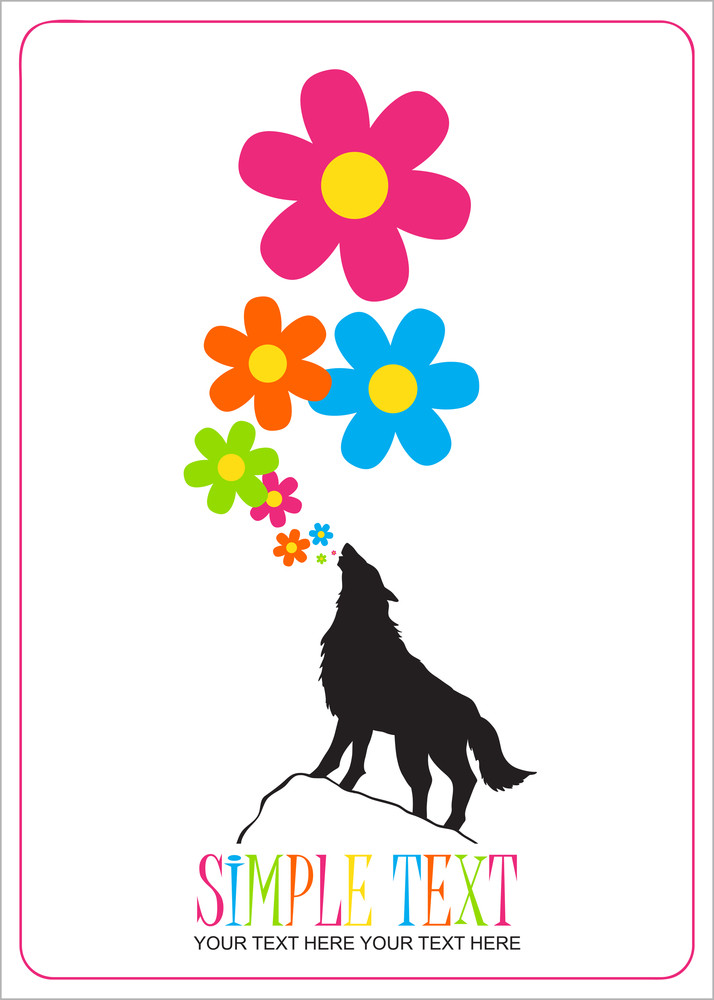 Abstract Vector Illustration With Wolf And Flowers.