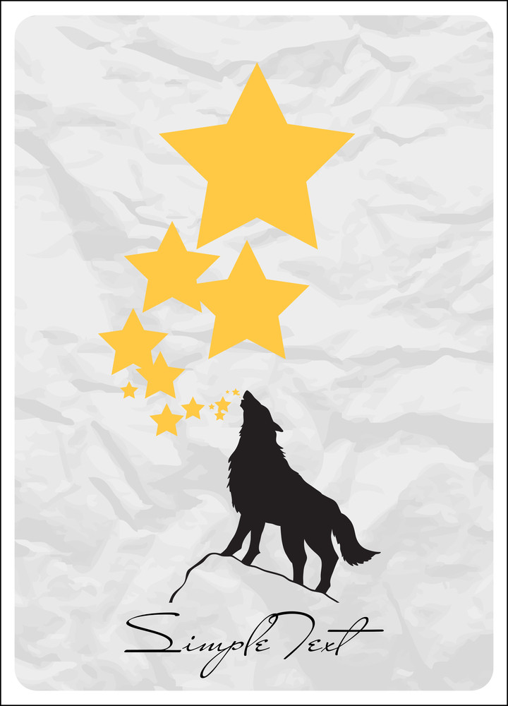 Abstract Vector Illustration With Wolf And Stars.