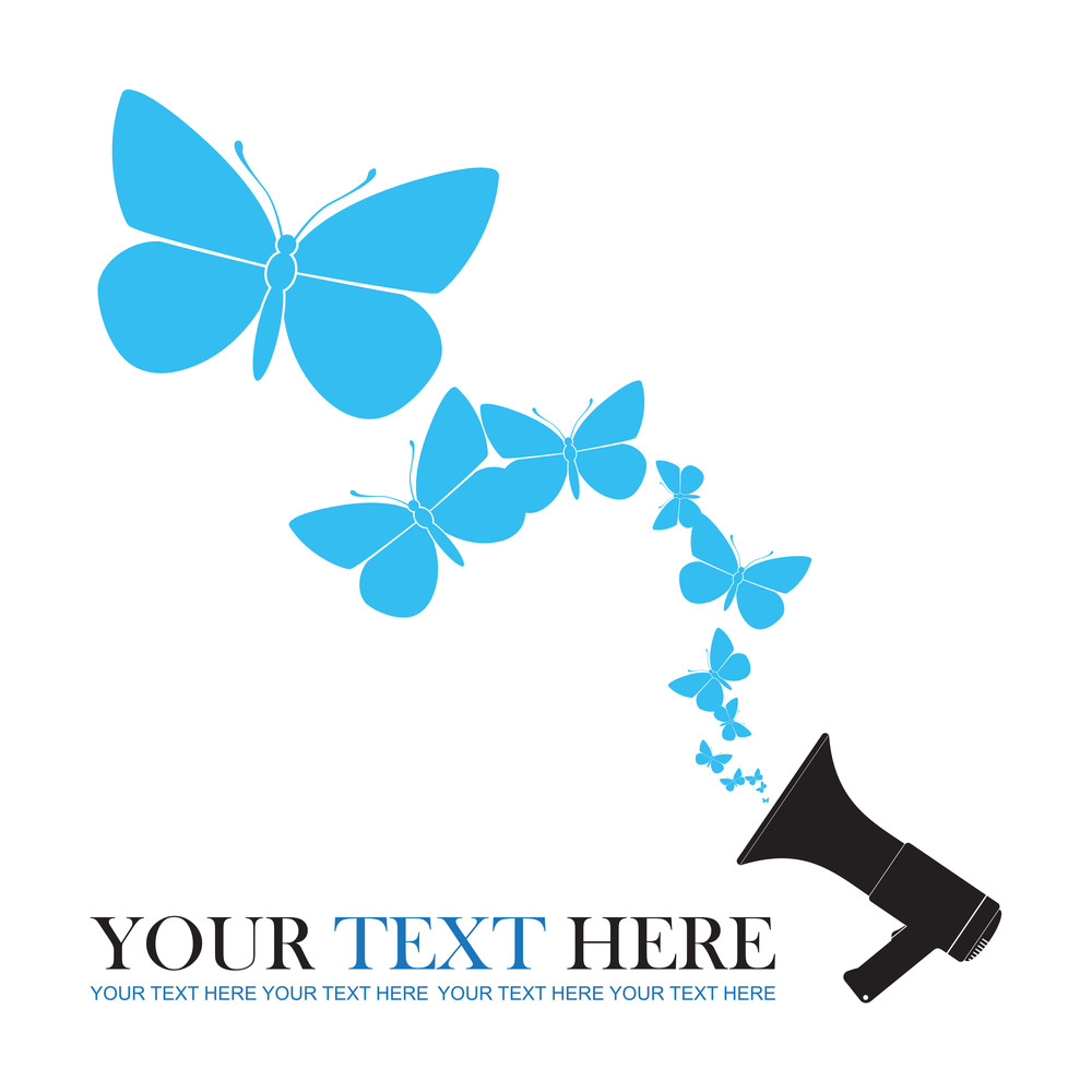 Abstract Vector Ilustration Of Megaphone And Butterflies.