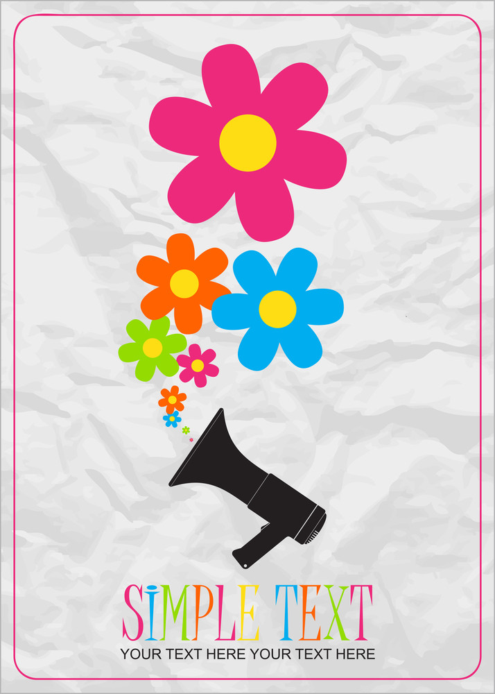 Abstract Vector Ilustration Of Megaphone And Flowers.
