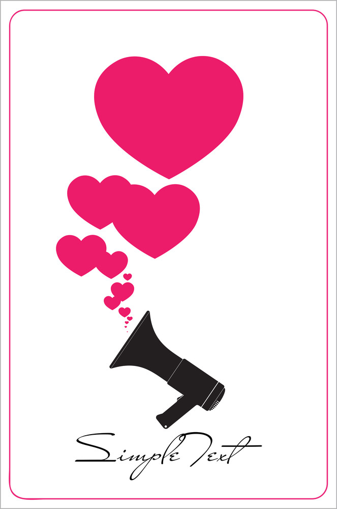 Abstract Vector Ilustration Of Megaphone And Hearts.
