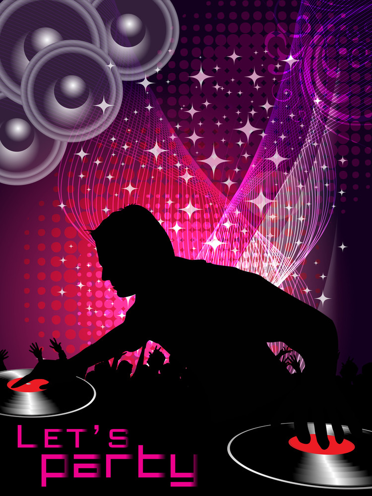 Abstract Vector Of  Disk Jockey On Colorful Music Event Background With Shape For Discoteque Flyers Or Banner.
