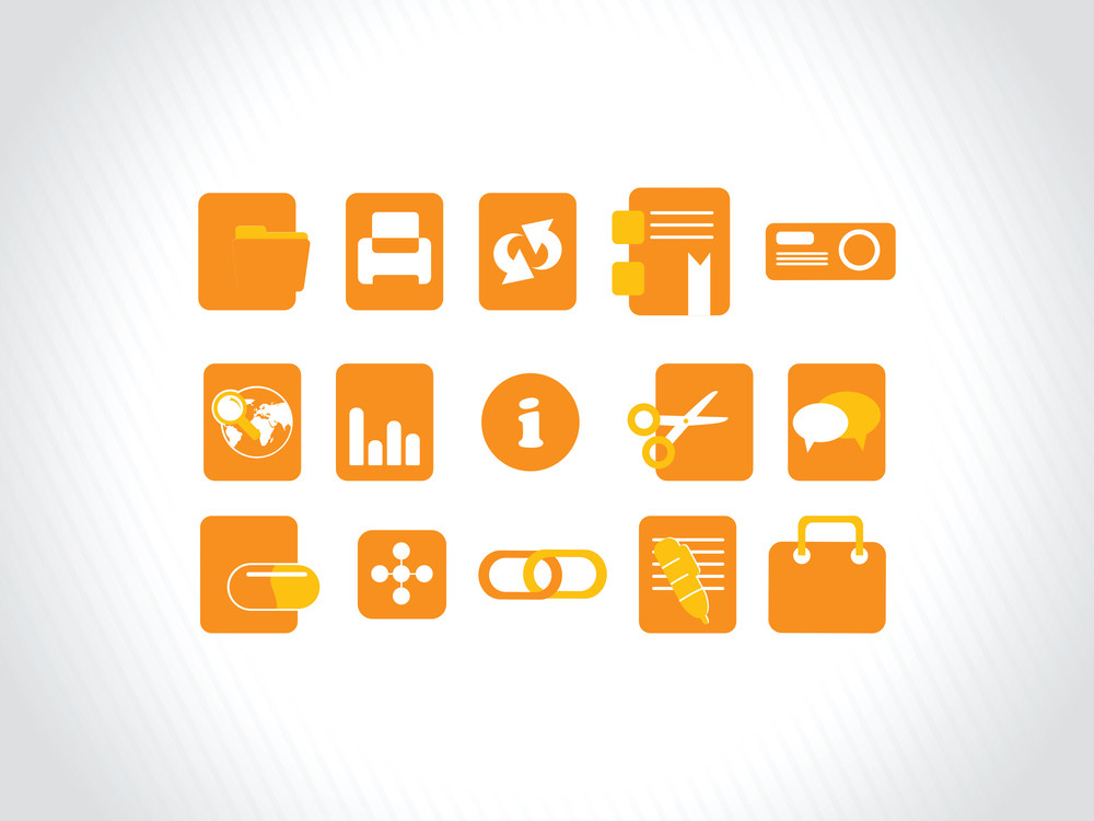 Abstract Vector Orange Icons Element Illustrations