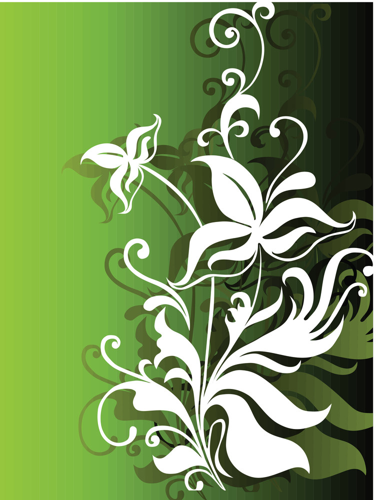 Abstract Vector Wallpaper Of Floral Themes In Gradient Green