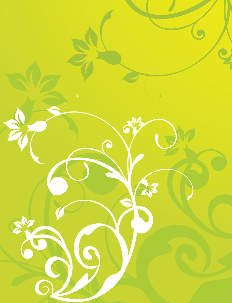 Abstract Vector Wallpaper Of Floral Themes In Light Green