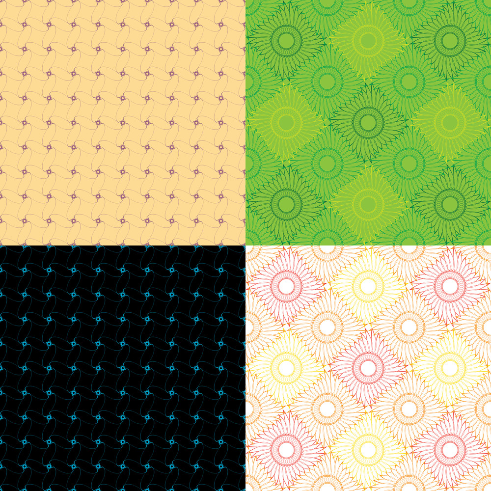 Abstract Vintage Seamless Pattern Set. Vector Illustration.