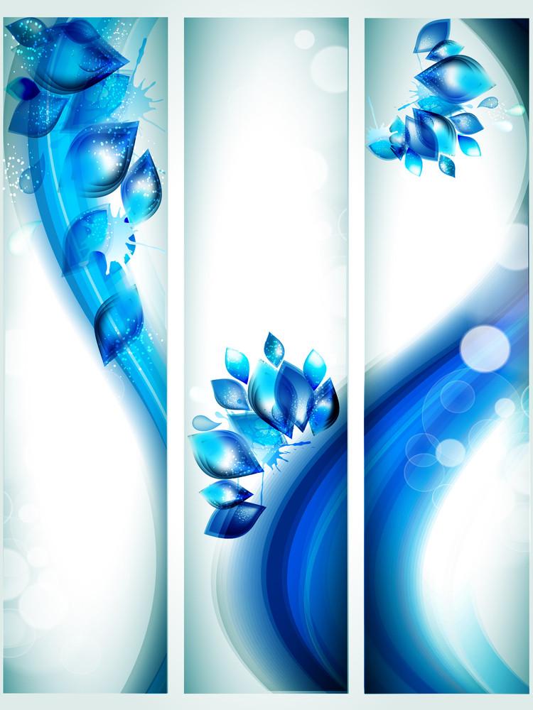 Abstract Water Banners With Splash And Glitter Effects.