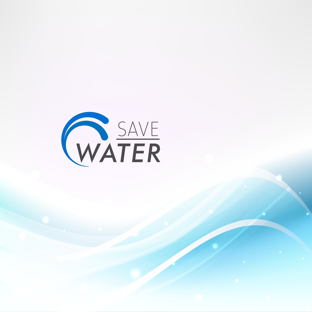 Abstract Wave Background With Text Save Water
