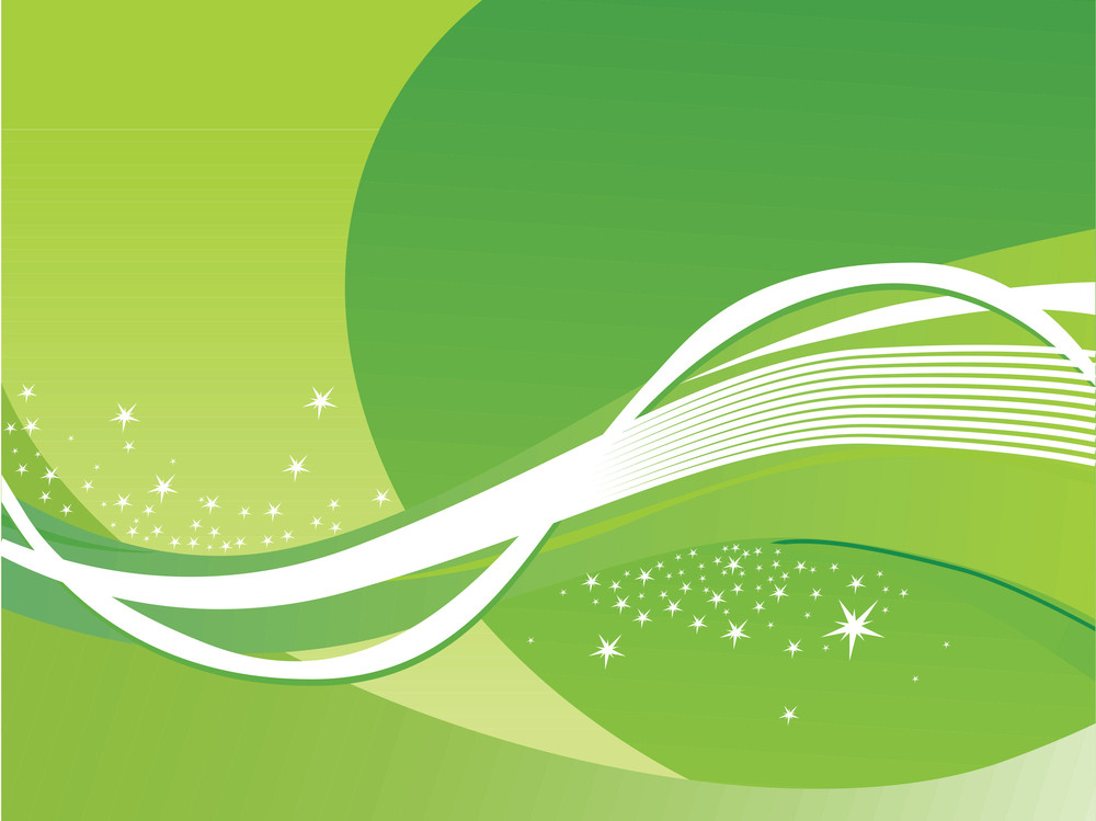 Abstract Wavy Background With Stars Green