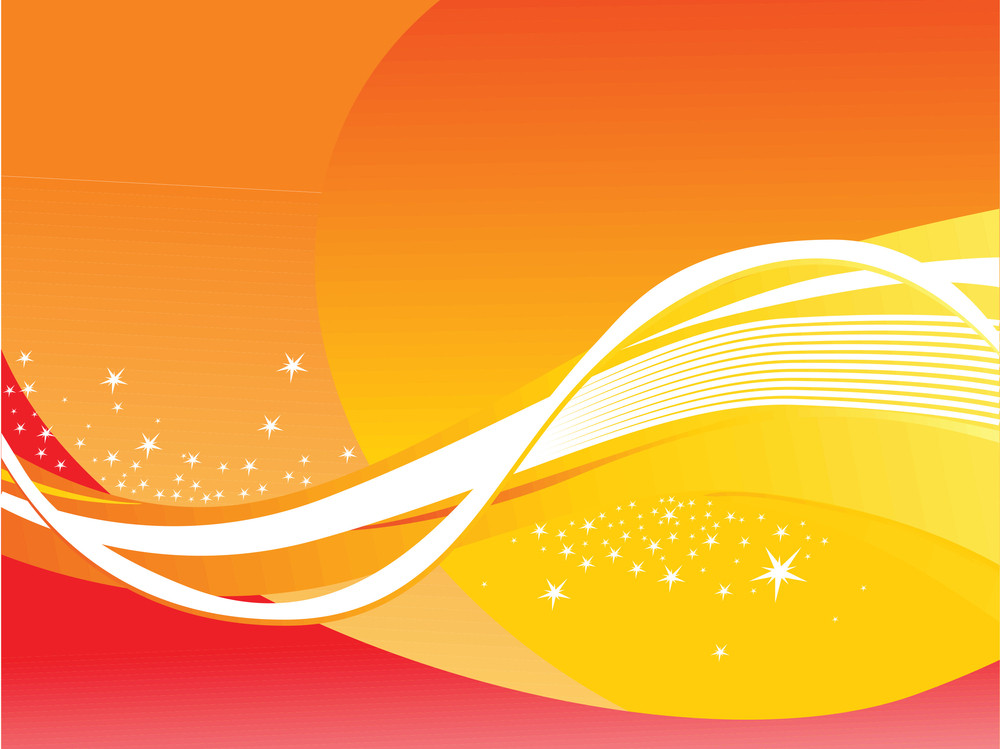 Abstract Wavy Background With Stars Orange