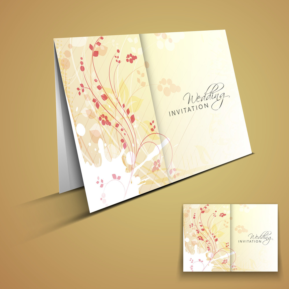 Abstract  Wedding Card With Floral Decoration