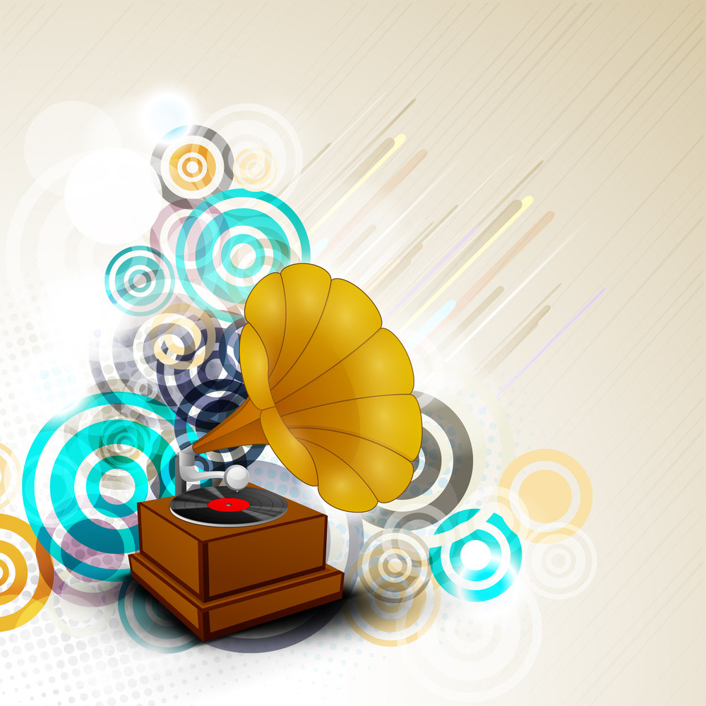 Abstract With Gramophone On Colorful Background