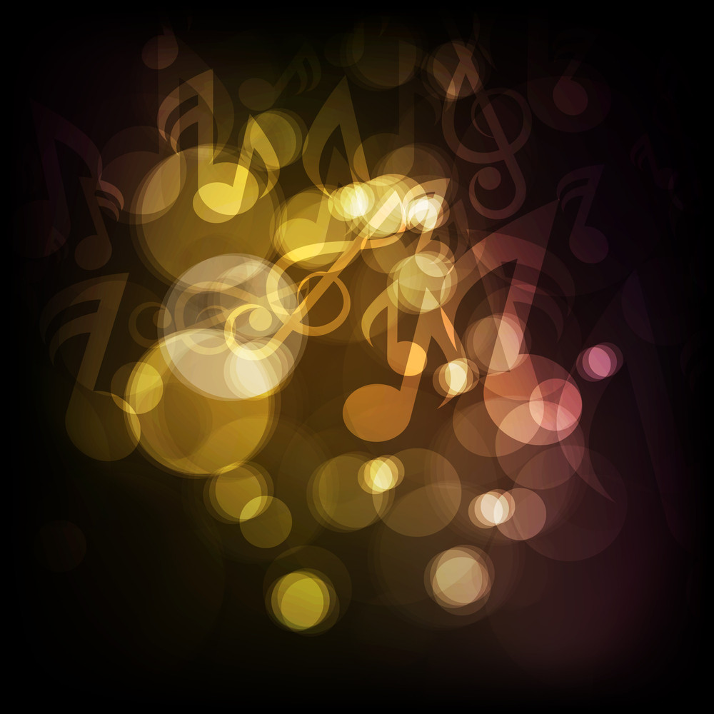 Abstract With Music Notes On Shiny Background