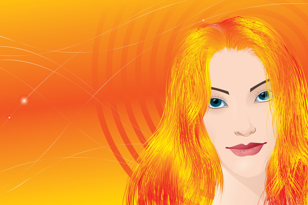 Abstract Woman With Orange Hair, Vector