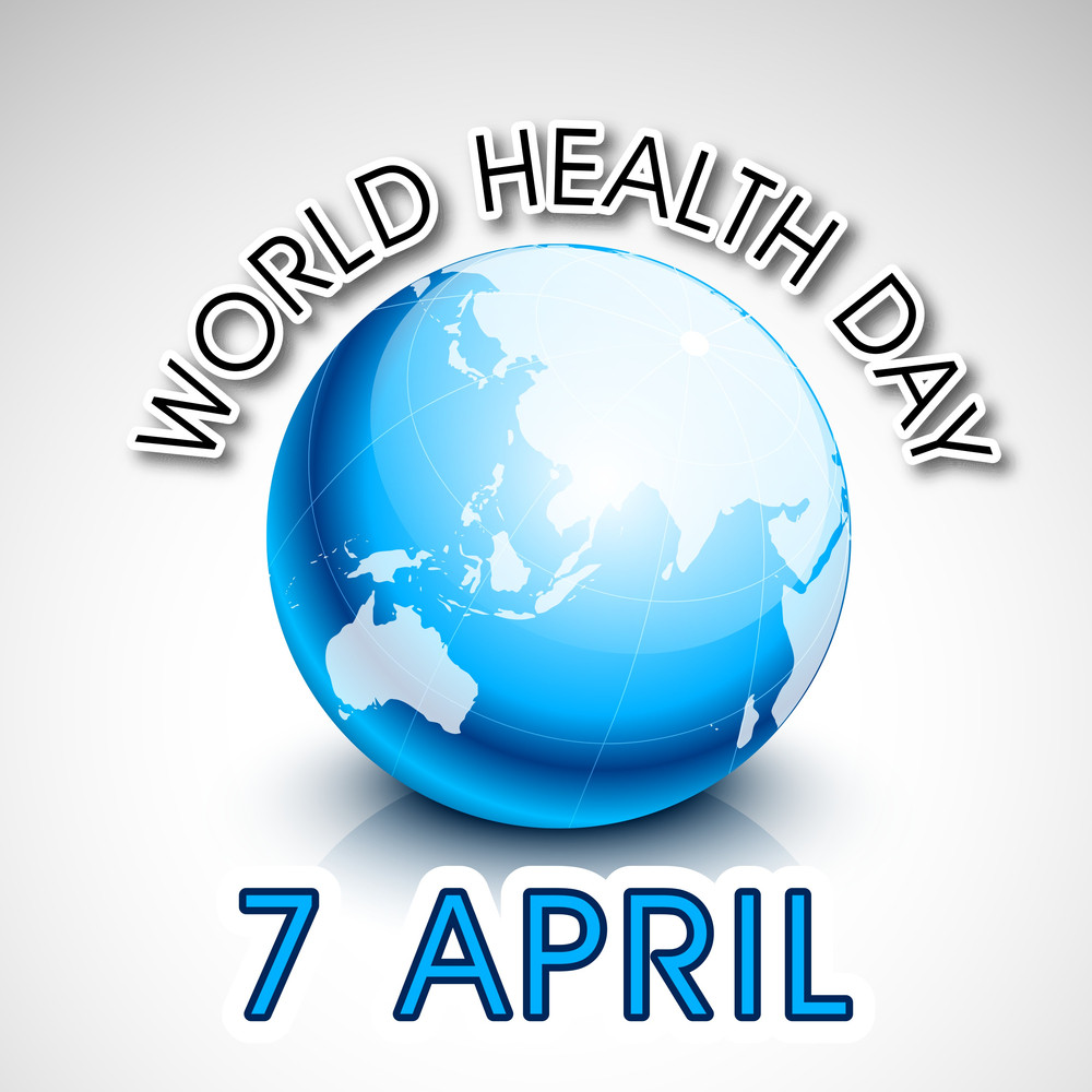 Abstract World Heath Day Concept With Blue Globe And Stylish Text On Grey Background.