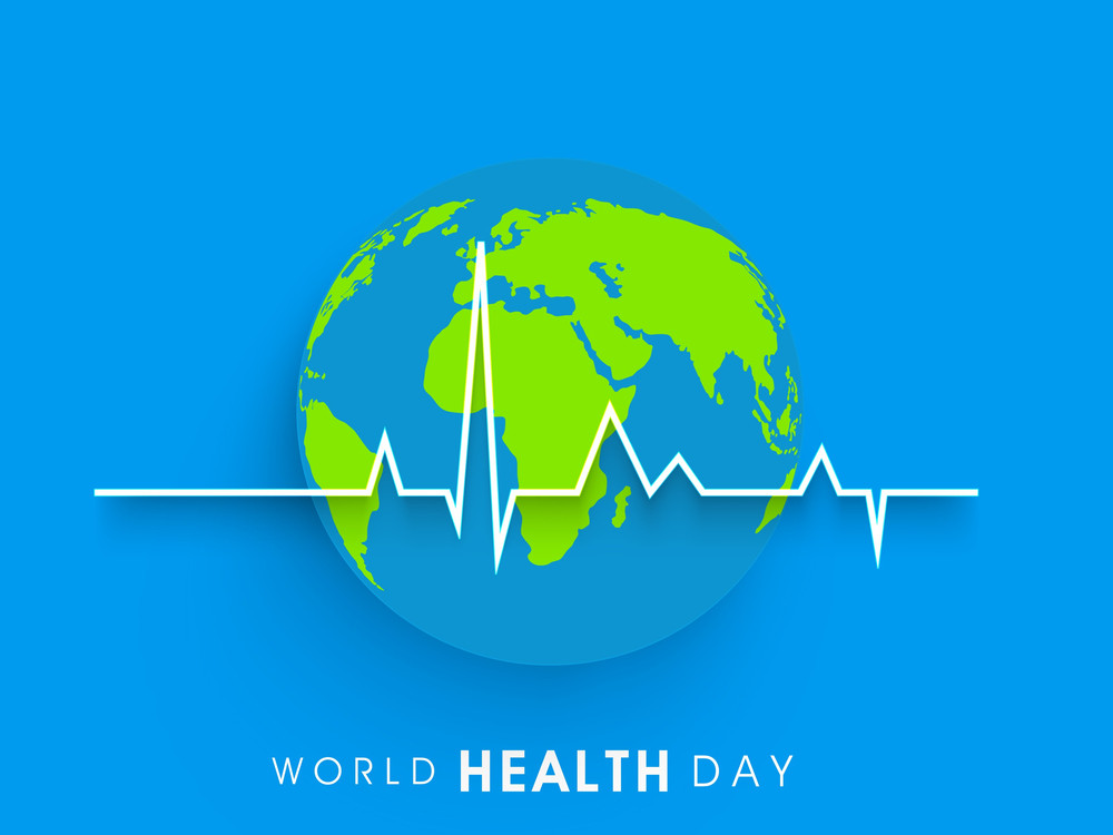 Abstract World Heath Day Concept With Globe And Heart Beat On Blue Background.