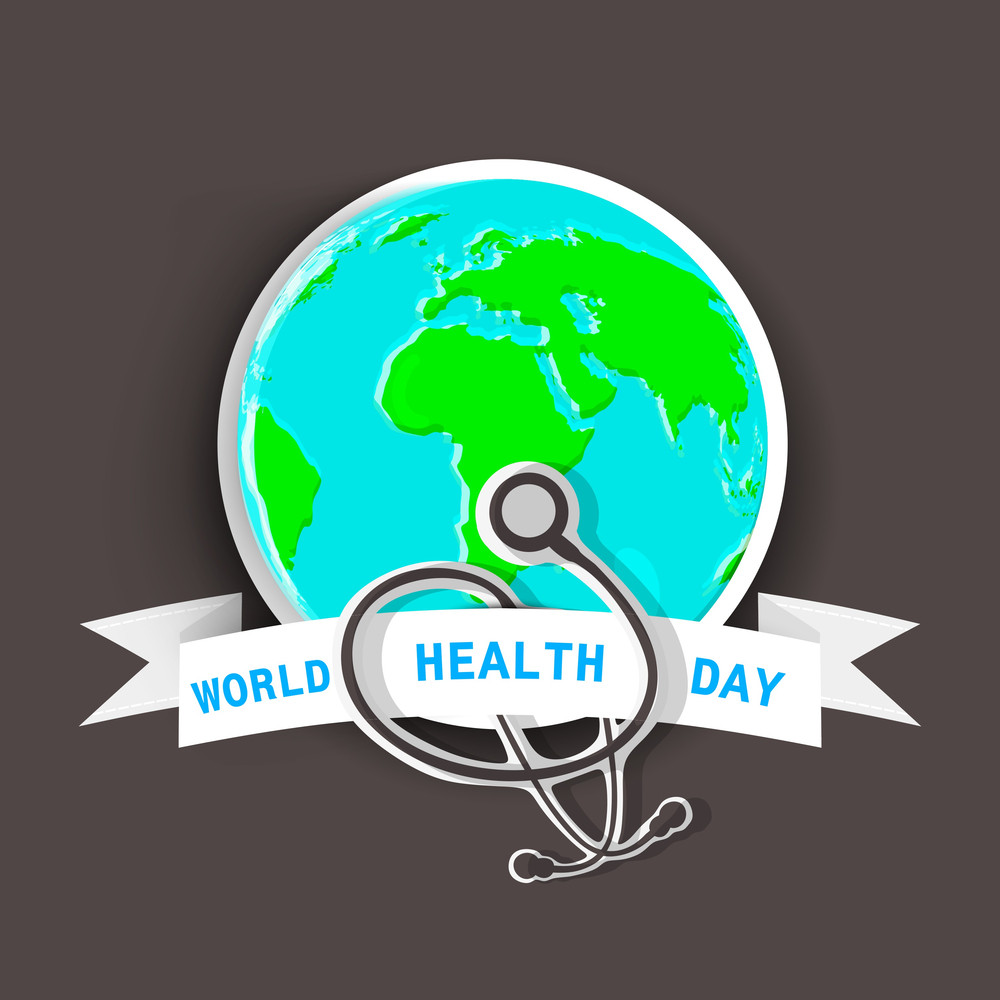 Abstract World Heath Day Concept With Globe And Setescope On Brown Background.