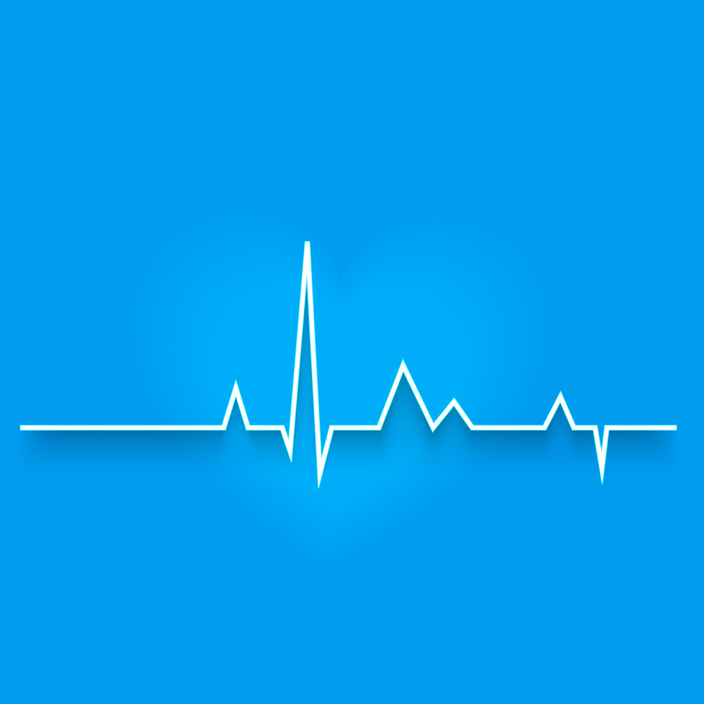 Abstract World Heath Day Concept With Heart Beat On Blue Background.
