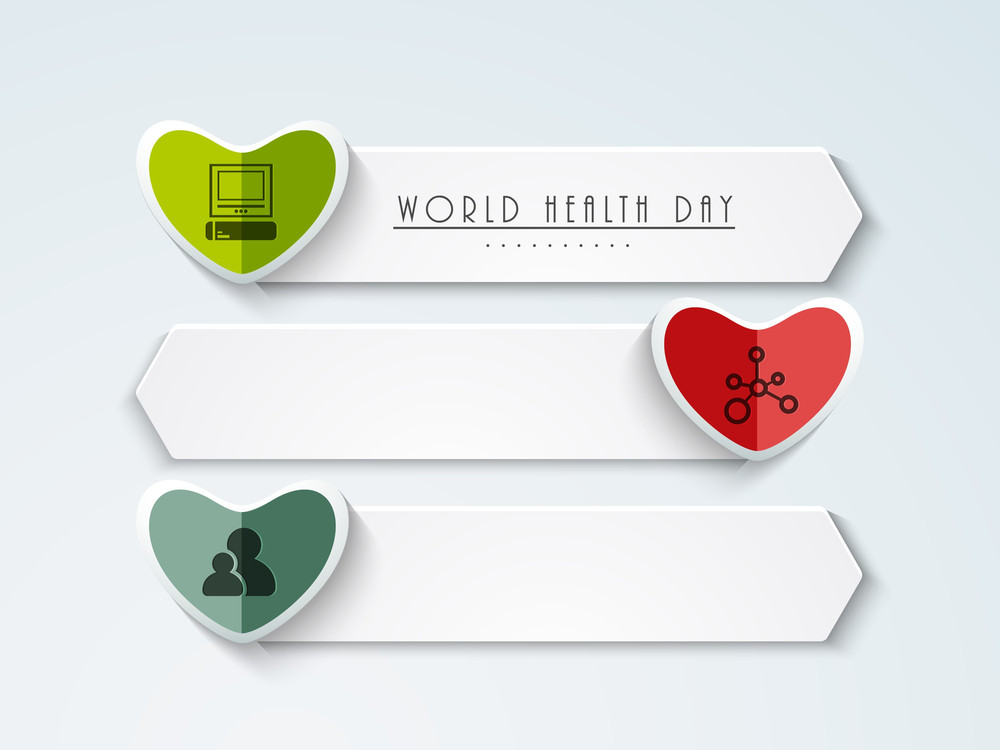 Abstract World Heath Day Concept With Icons On Blue Background.