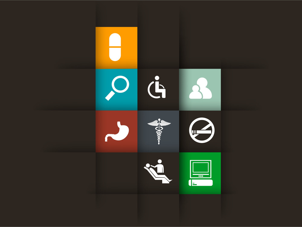 Abstract World Heath Day Concept With Medical Icons On Brown Background.