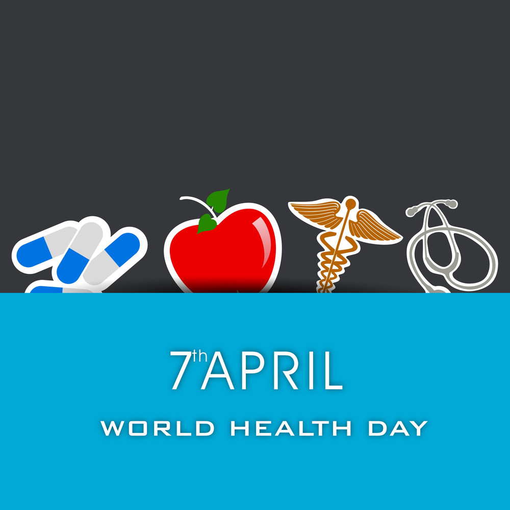 Abstract World Heath Day Concept With Medical Icons On Gnd Blue Background.