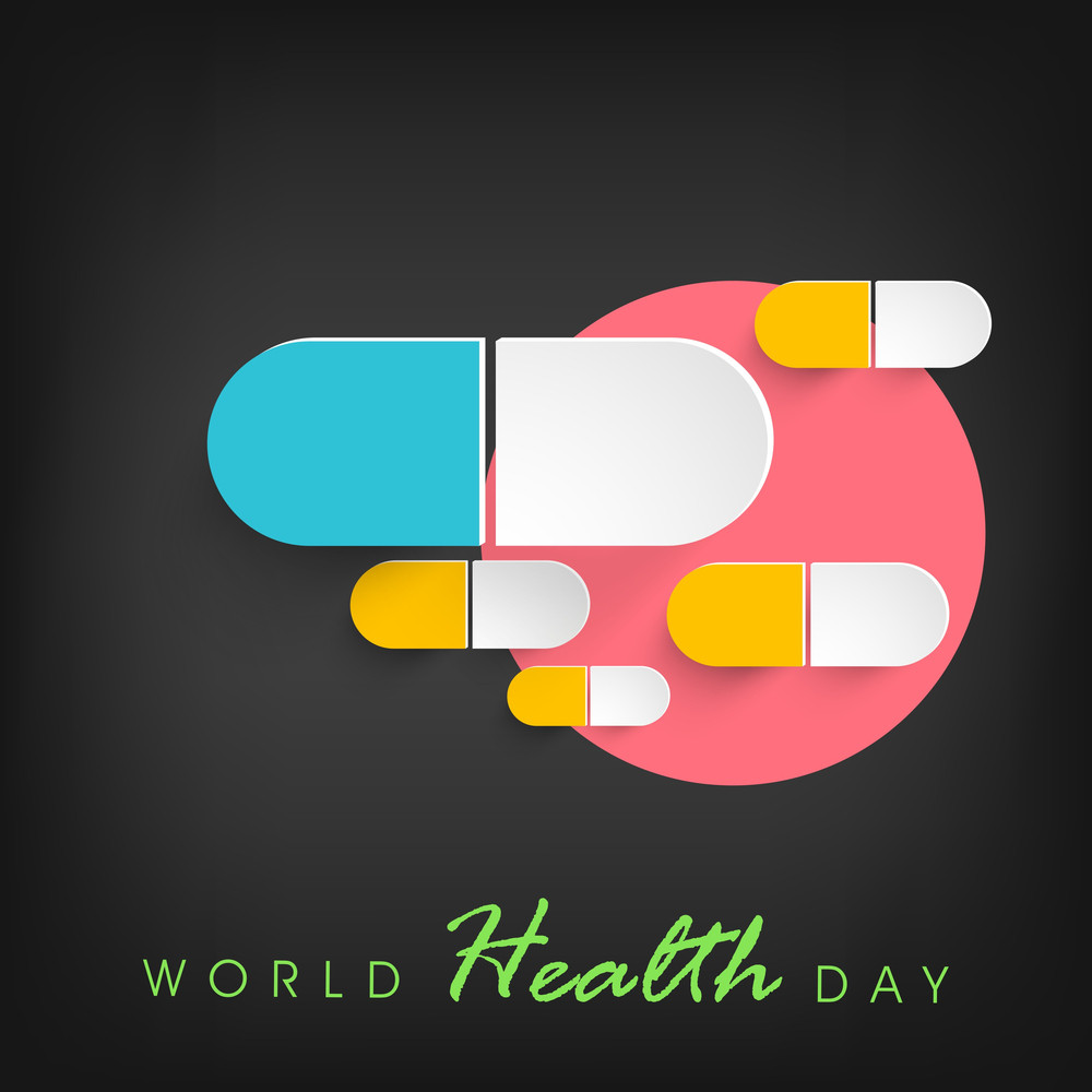 Abstract World Heath Day Concept With Medical Pills On Grey Background.