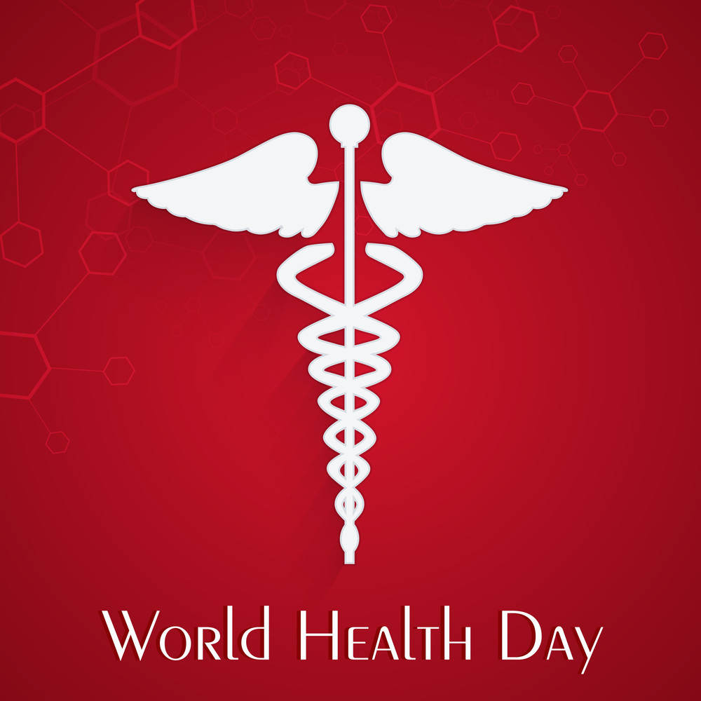 Abstract World Heath Day Concept With Medical Symbol On Red Background.