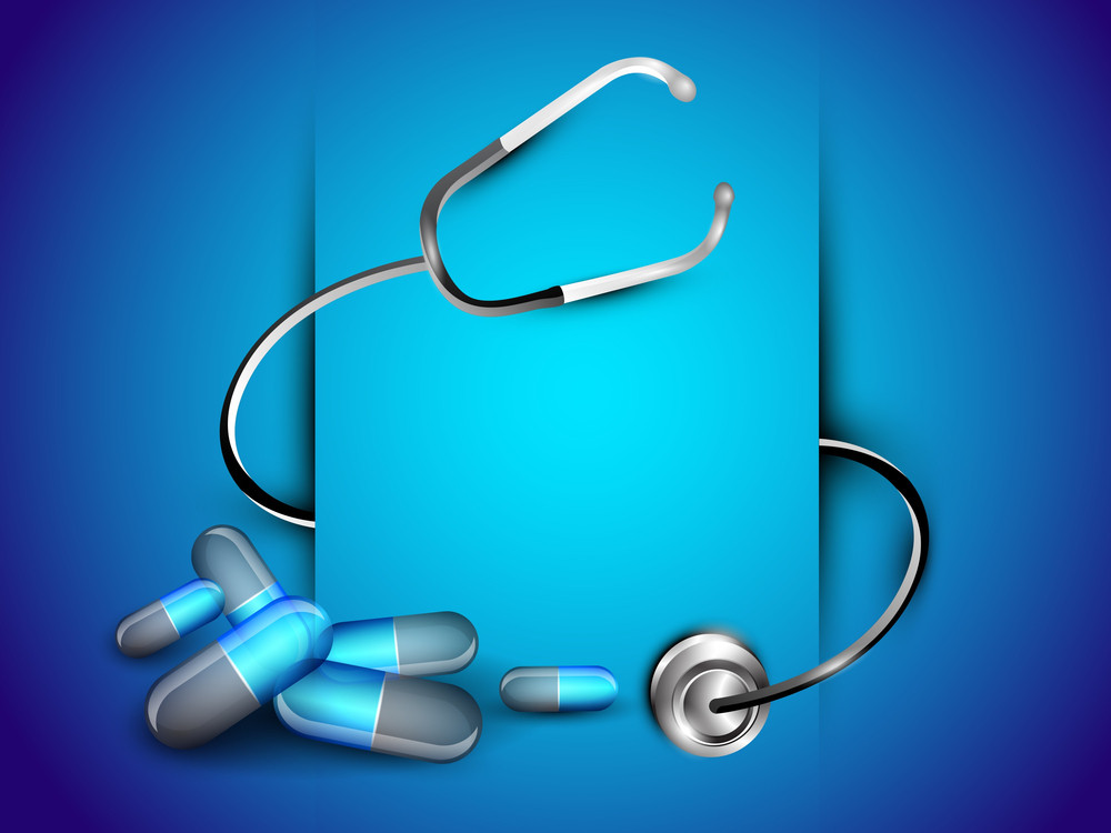 Abstract World Heath Day Concept With Pills And Setescope On Shiny Blue Background.