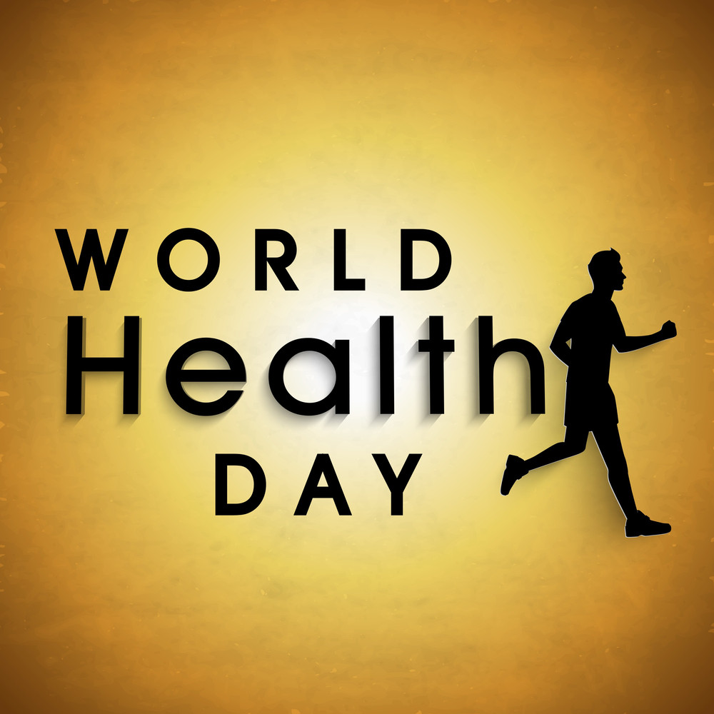 Abstract World Heath Day Concept With Stylish Text And Black Silhouette Of Young Guy Running On Brown Background.