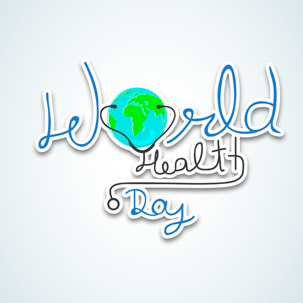 Abstract World Heath Day Concept With Stylish Text And Globe On Grey Background.