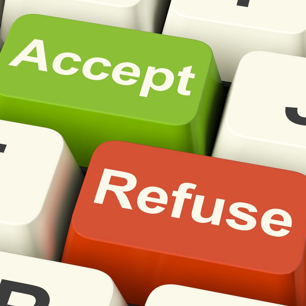 接受並拒絕鍵顯示接受或拒絕