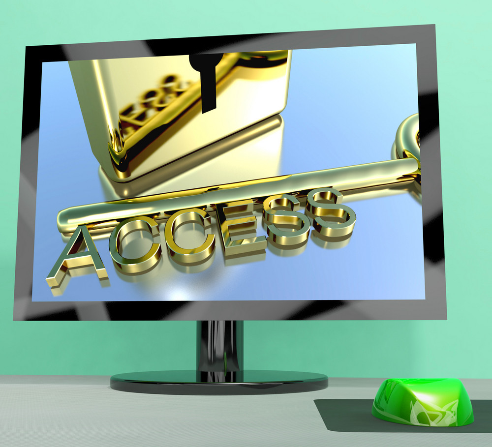 Access Key On Computer Screen Showing Security