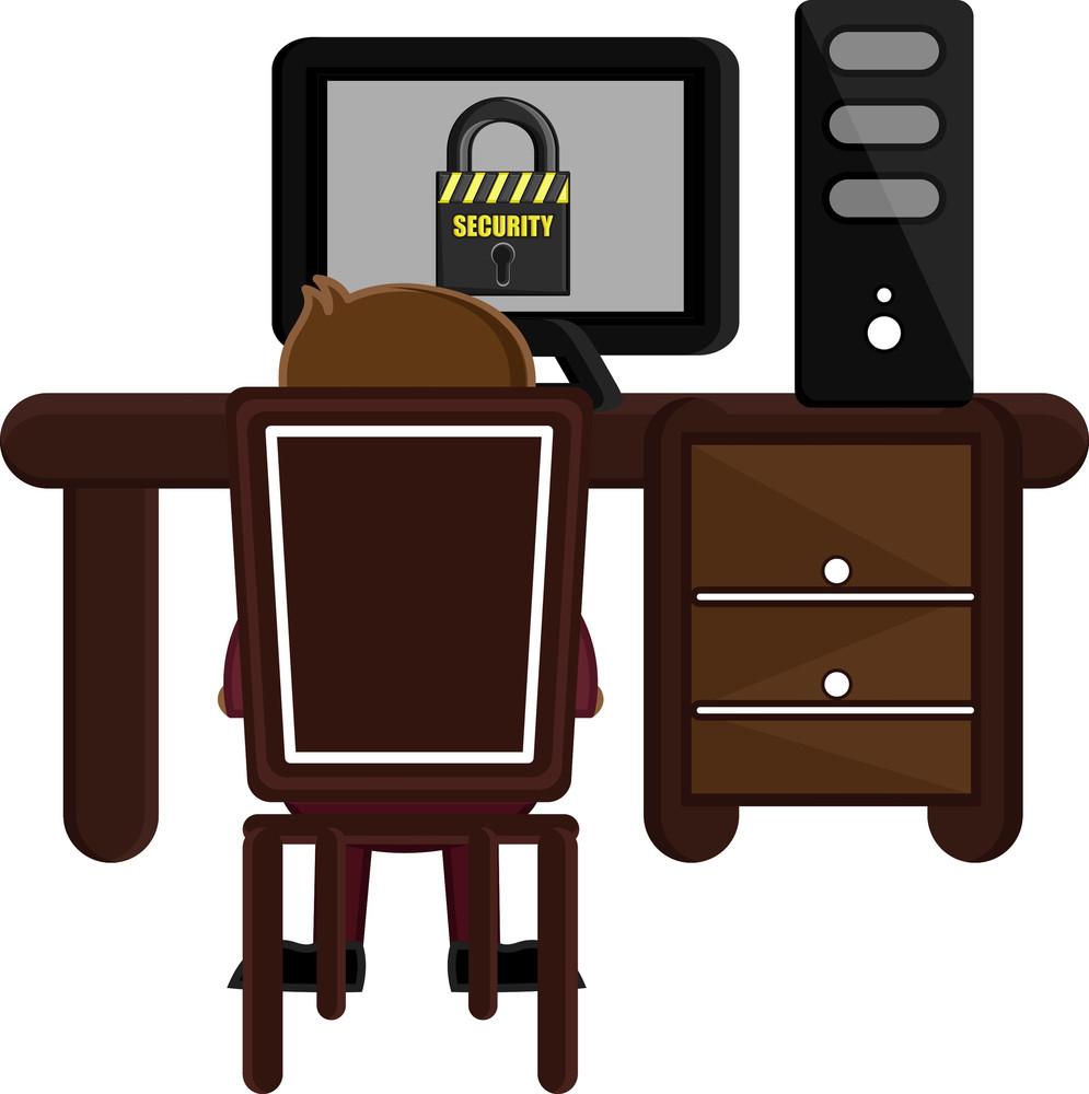 Accessing Secure Website - Cartoon Vector