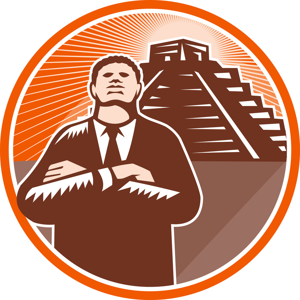 African American Businessman Protect Pyramid