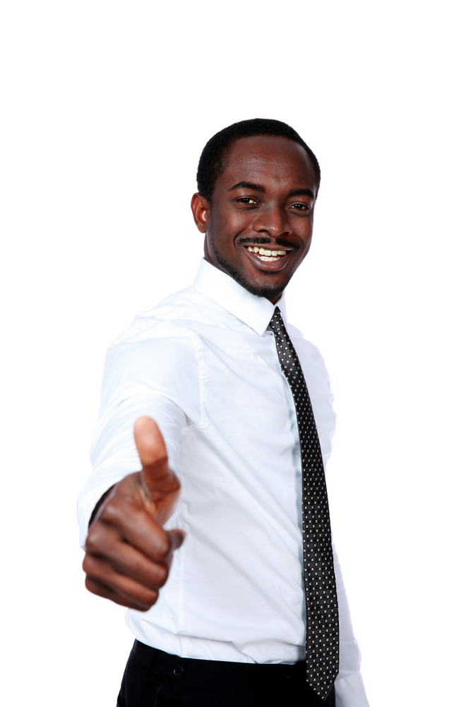 African businessman showing thumb up isolated on white background