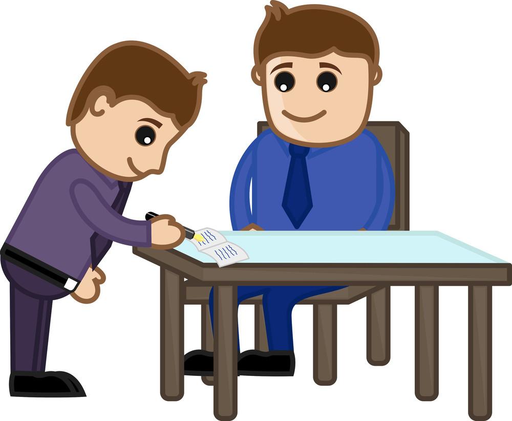 Agreement Signed - Cartoon Office Vector Illustration