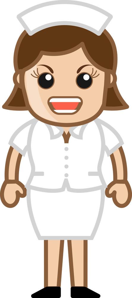 Agressive Nurse - Medical Cartoon Vector Character