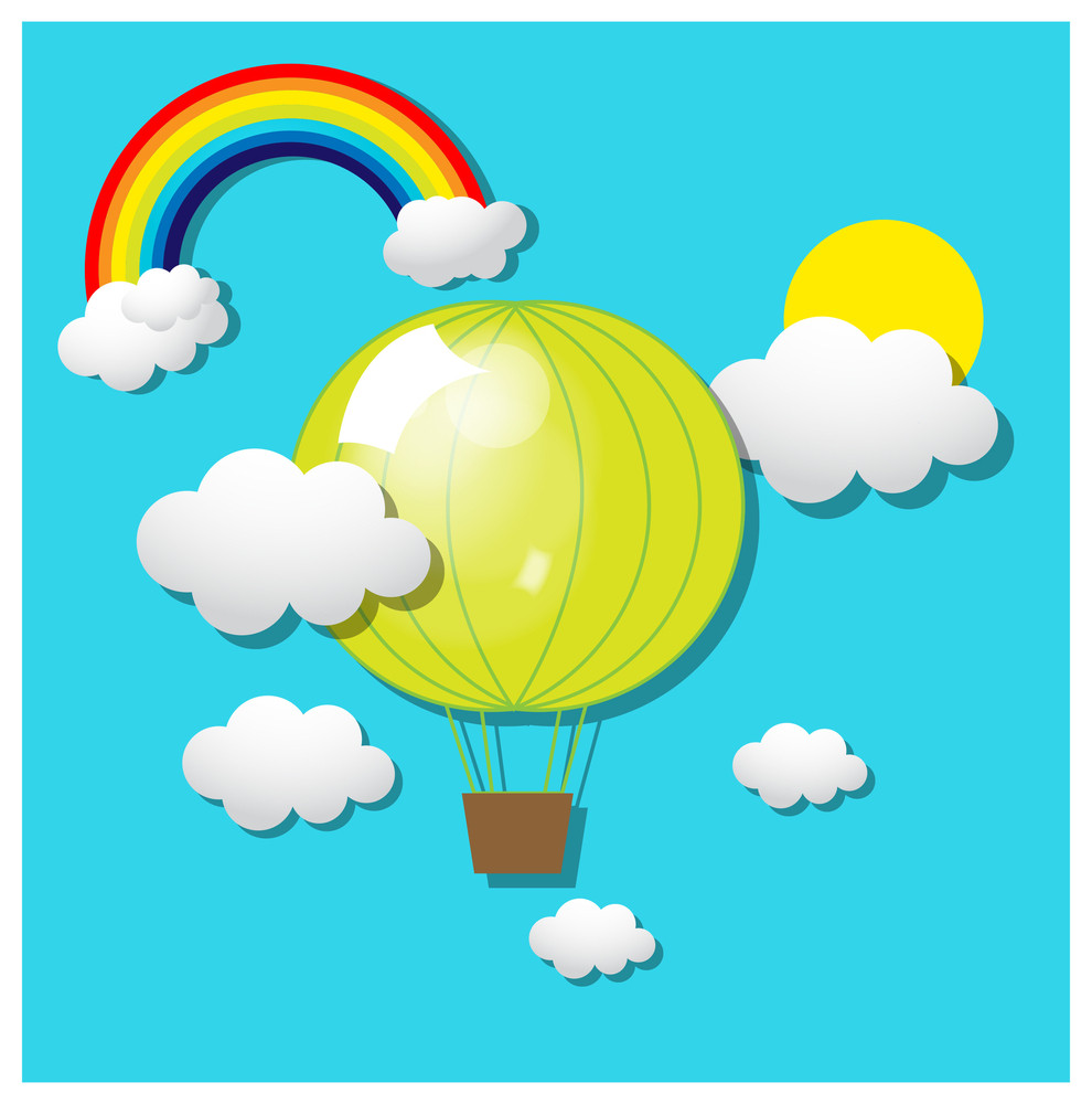 Air Balloons With Rainbow And Clouds