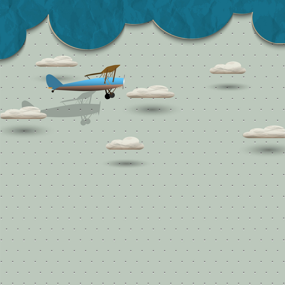 Airplane And Clouds From Paper