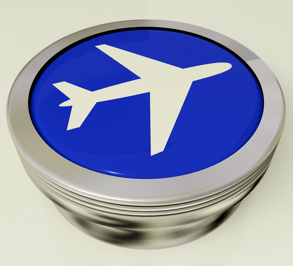 Airplane Icon Or Metallic Button Expressing Travel Or Airport