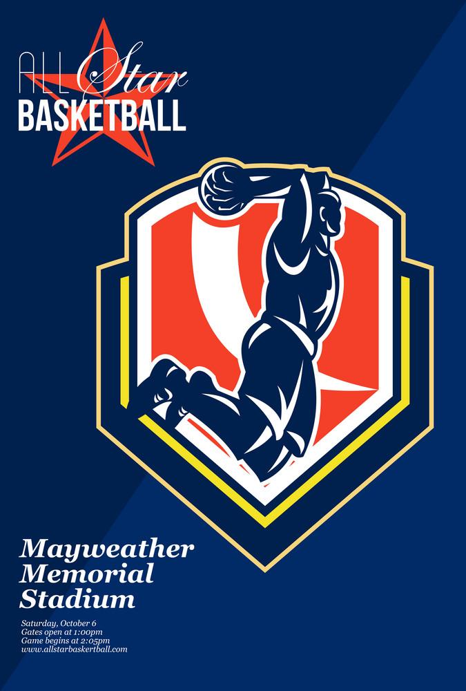 All American Basketball Retro Poster