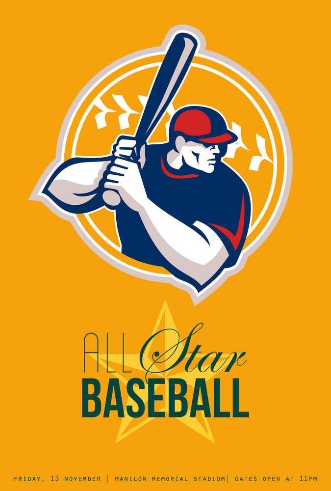 All-american Star Baseball Retro Poster