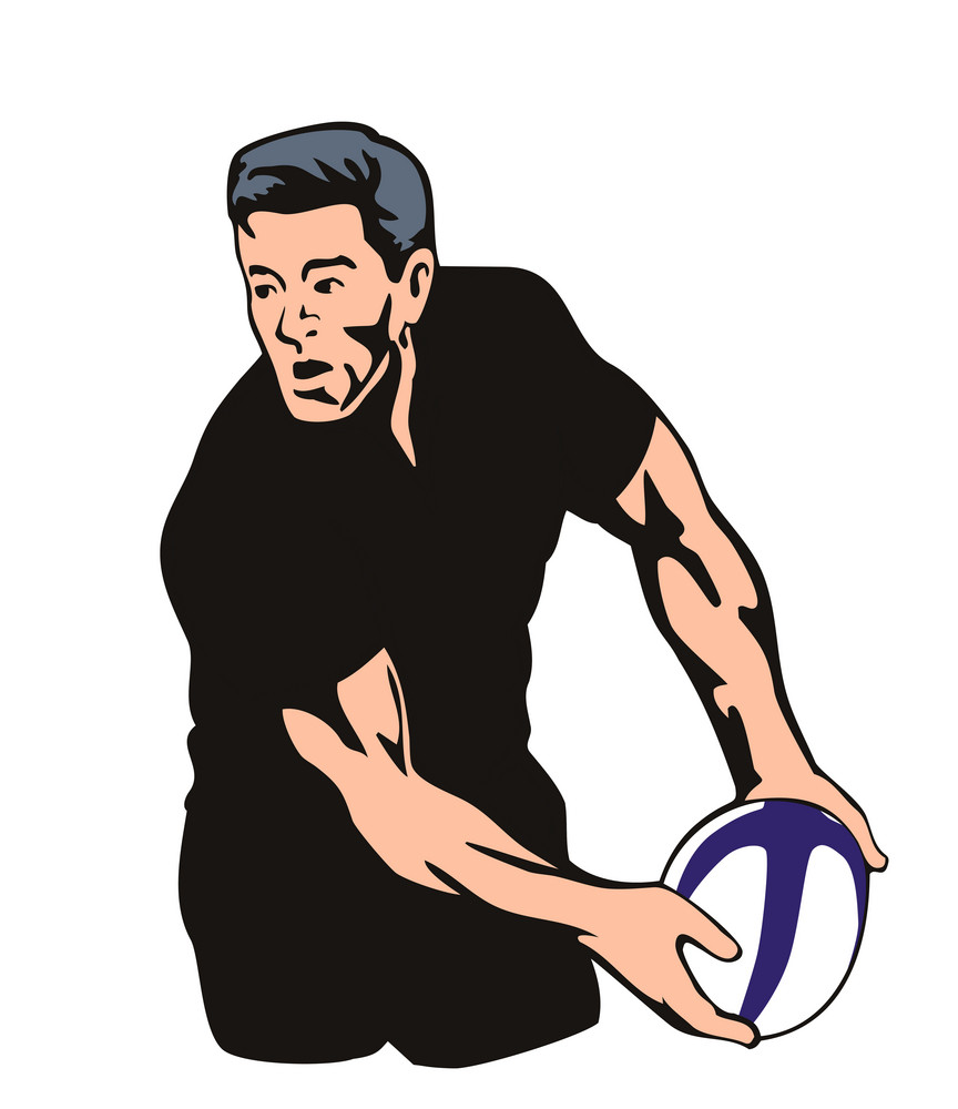All Blacks Rugby Player Passing Ball